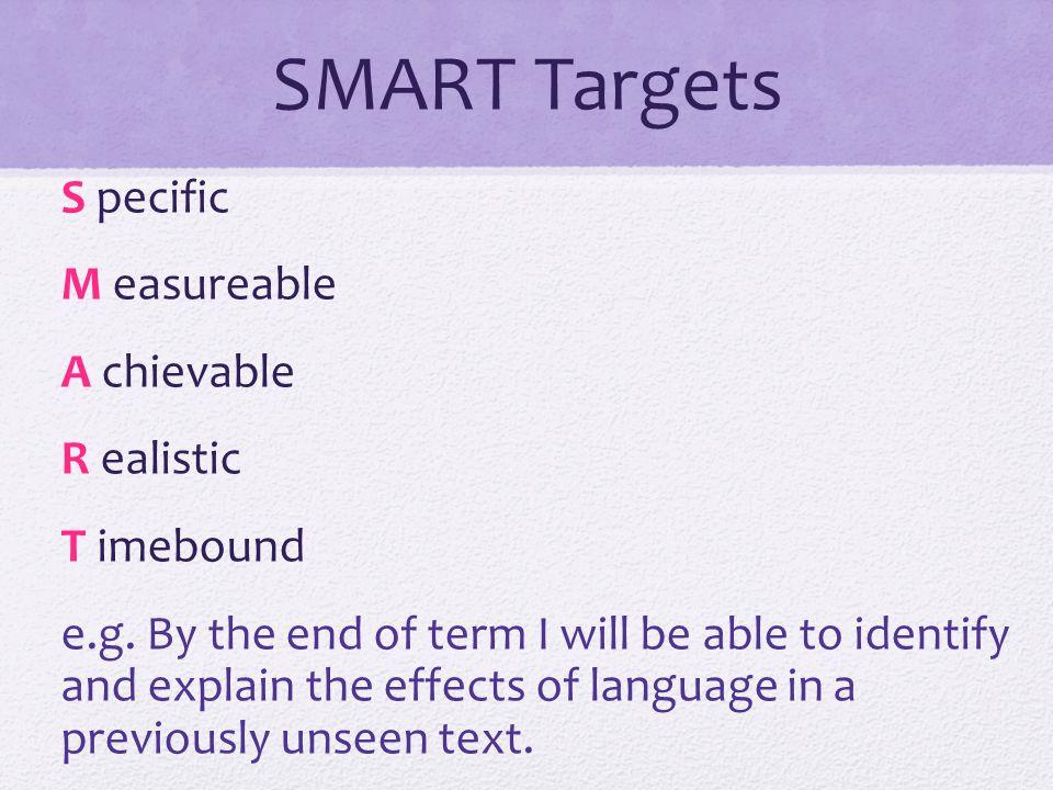 SMART Targets S pecific M easureable A chievable R ealistic T imebound e.g.