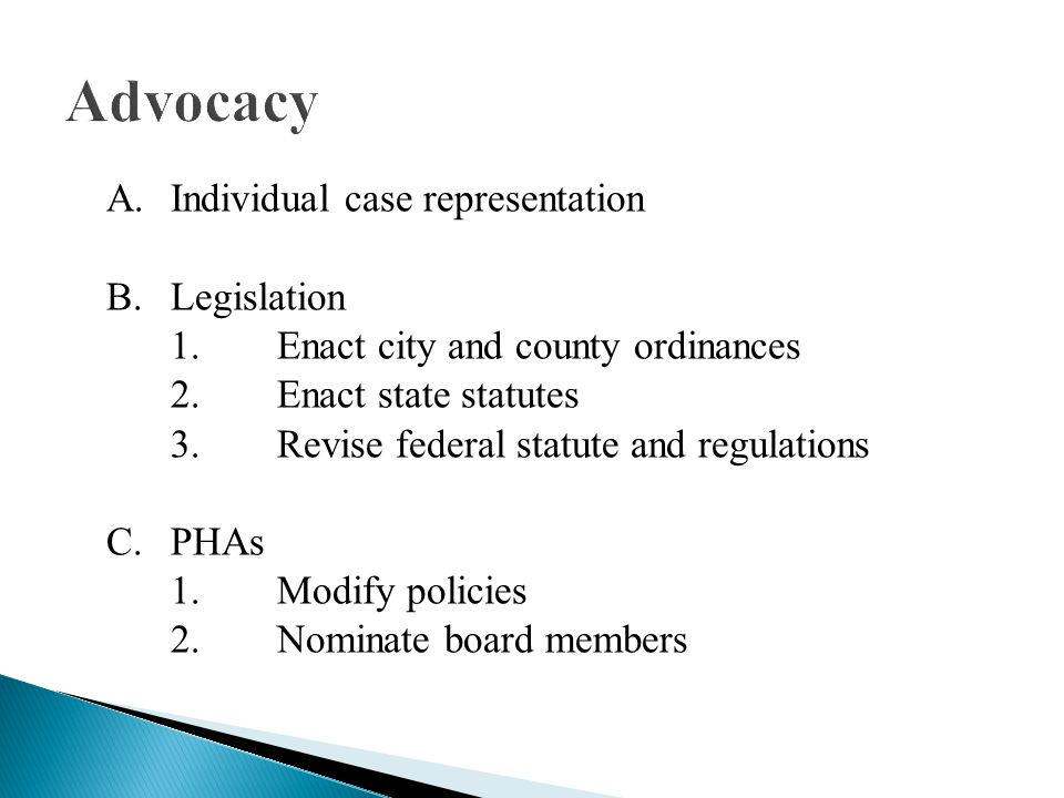 A.Individual case representation B.Legislation 1.Enact city and county ordinances 2.Enact state statutes 3.Revise federal statute and regulations C.PHAs 1.Modify policies 2.Nominate board members