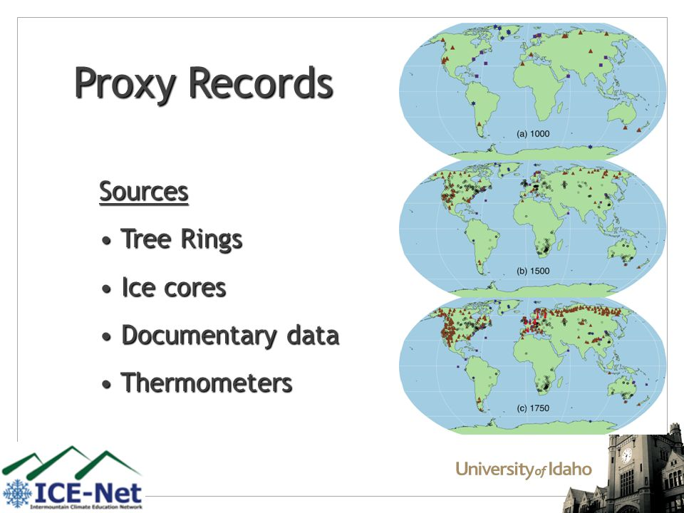 Proxy Records Sources Tree Rings Tree Rings Ice cores Ice cores Documentary data Documentary data Thermometers Thermometers