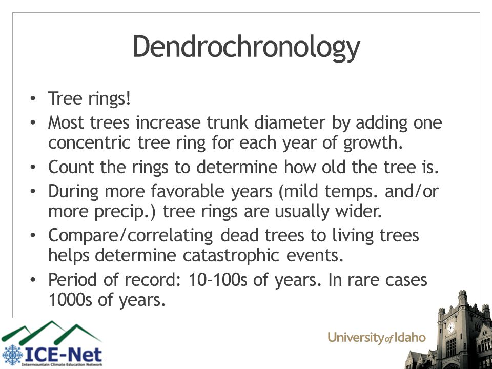 Dendrochronology Tree rings.
