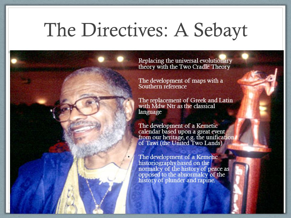 The Directives: A Sebayt Replacing the universal evolutionary theory with the Two Cradle Theory The development of maps with a Southern reference The