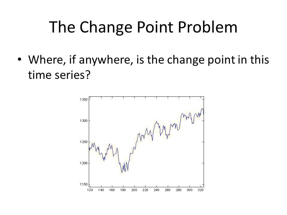 The Change Point Problem Where, if anywhere, is the change point in this time series