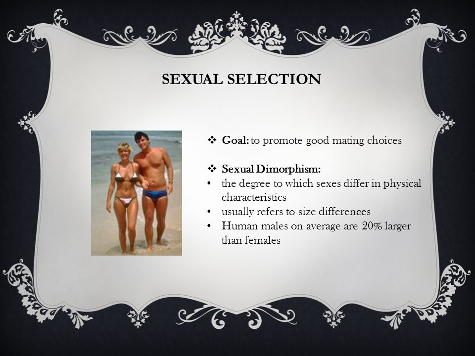 SEXUAL SELECTION Goal: to promote good mating choices Sexual Dimorphism: the degree to which sexes differ in physical characteristics usually refers to size differences Human males on average are 20% larger than females