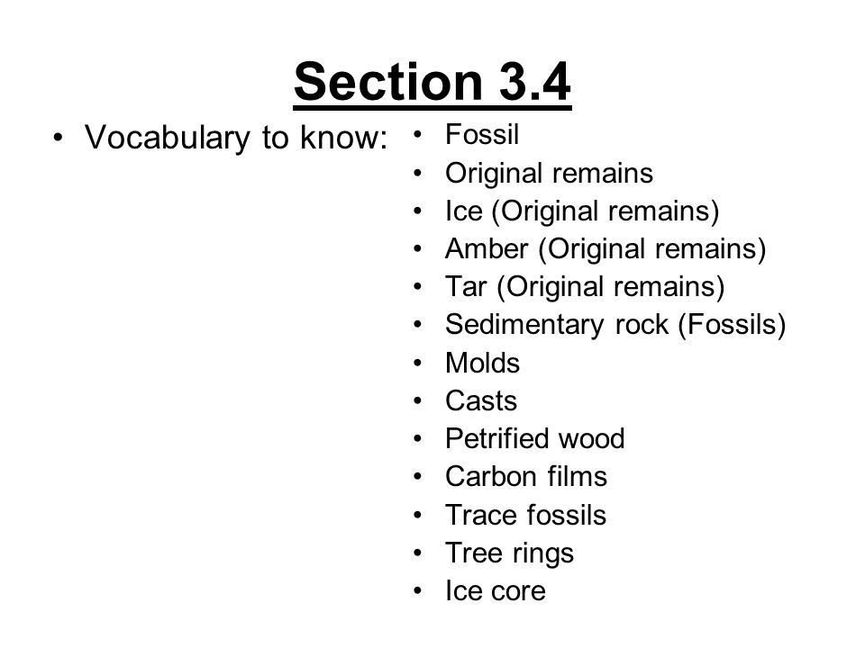 Section 3.4 Vocabulary to know: Fossil Original remains Ice (Original remains) Amber (Original remains) Tar (Original remains) Sedimentary rock (Fossi