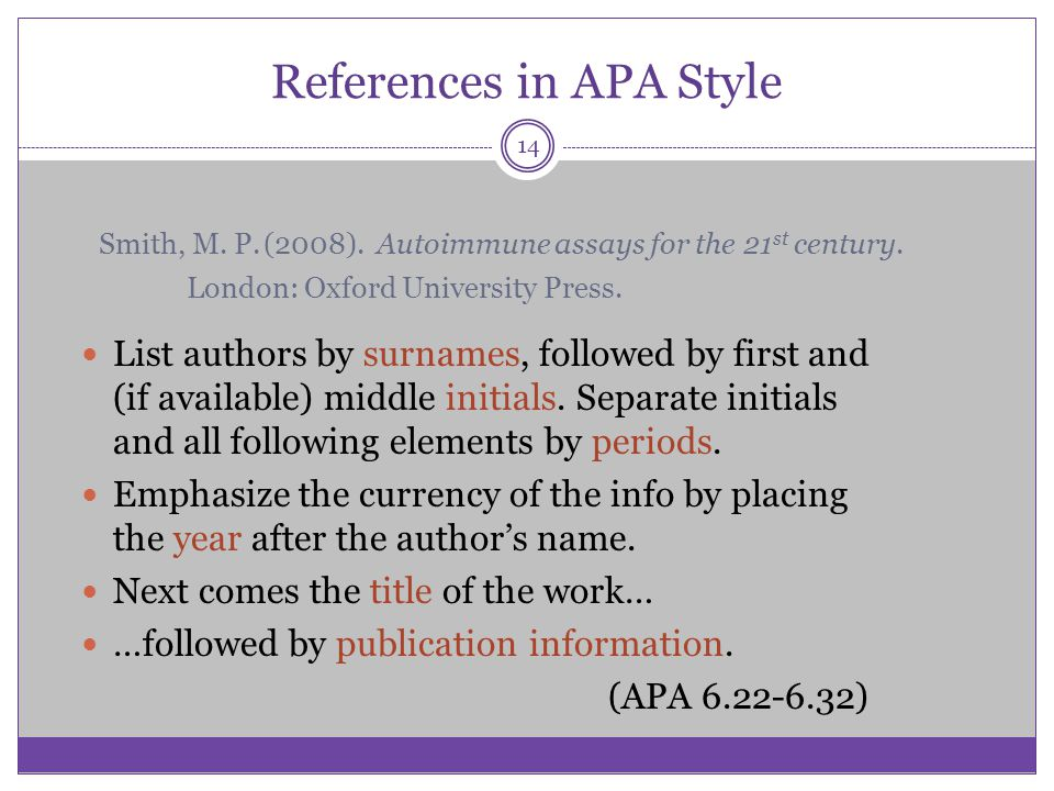 References in APA Style List authors by surnames, followed by first and (if available) middle initials. Separate initials and all following elements b