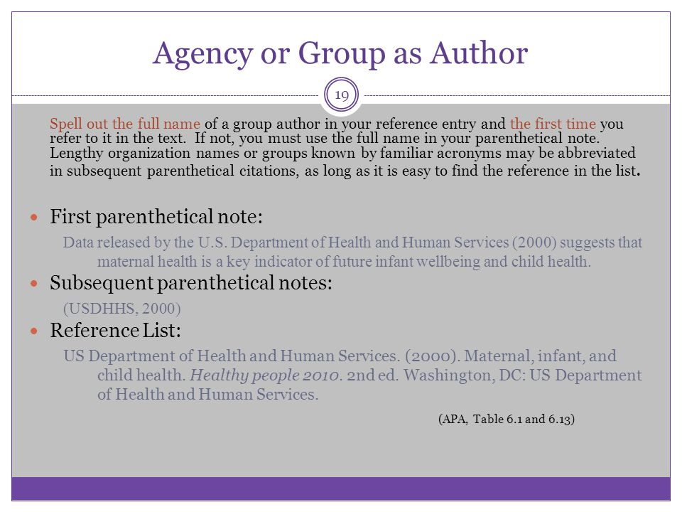 Agency or Group as Author Spell out the full name of a group author in your reference entry and the first time you refer to it in the text. If not, yo