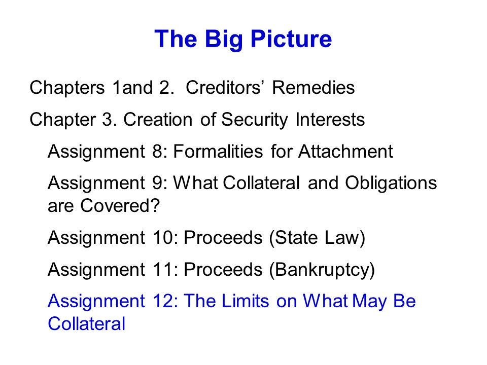 The Big Picture Chapters 1and 2. Creditors Remedies Chapter 3.