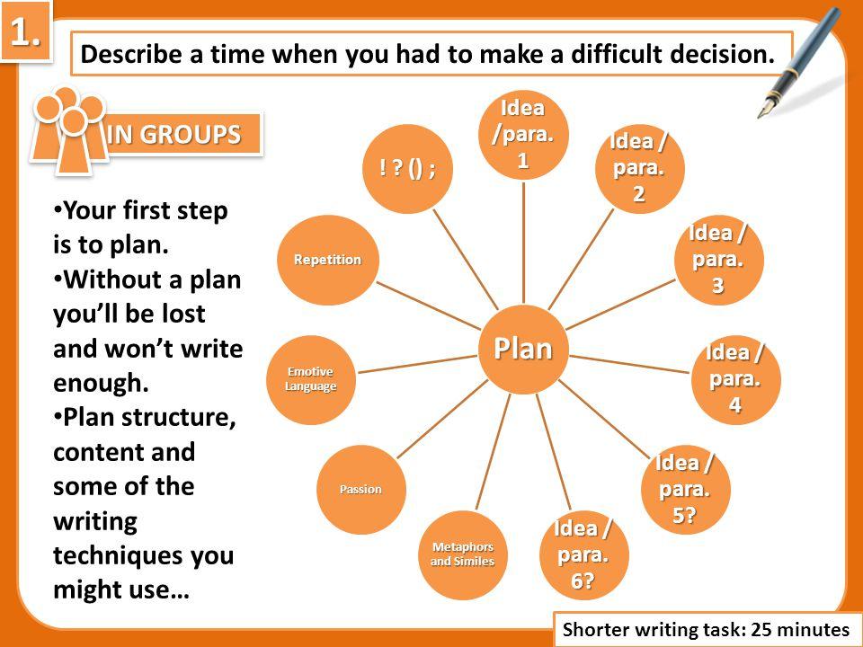 Describe a time when you had to make a difficult decision. Plan Idea /para. 1 Idea / para. 2 Idea / para. 3 Idea / para. 4 Idea / para. 5? Idea / para
