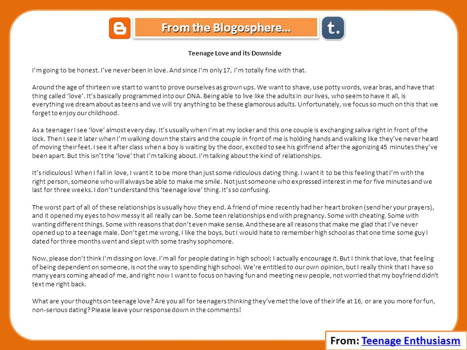 From the Blogosphere… Teenage Love and its Downside Im going to be honest.
