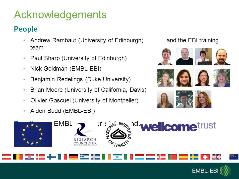 Acknowledgements People Andrew Rambaut (University of Edinburgh) …and the EBI training team Paul Sharp (University of Edinburgh) Nick Goldman (EMBL-EB