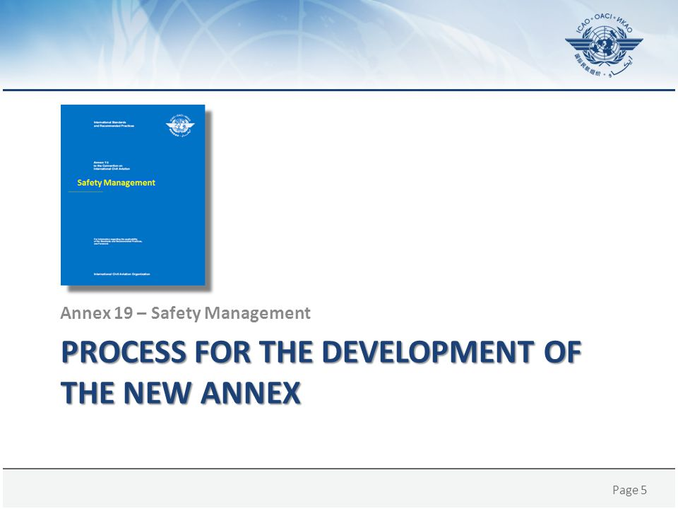 Page 36 SUPPORT FOR ANNEX 19 IMPLEMENTATION Annex 19 – Safety Management