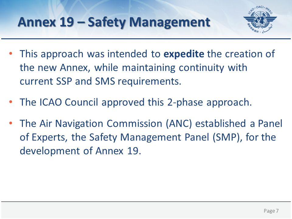 Page 18 CHAPTER 3 – State Safety Management Responsibilities (cont.) – In particular, it addresses the elements of the State Safety Programme (SSP) and the State safety oversight Standards, respectively described in Attachment A (SSP framework) and Appendix 1 (State safety oversight system).