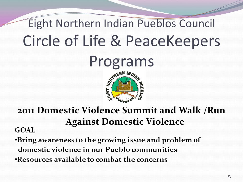 Eight Northern Indian Pueblos Council Circle of Life & PeaceKeepers Programs 2011 Domestic Violence Summit and Walk /Run Against Domestic Violence GOAL Bring awareness to the growing issue and problem of domestic violence in our Pueblo communities Resources available to combat the concerns 13