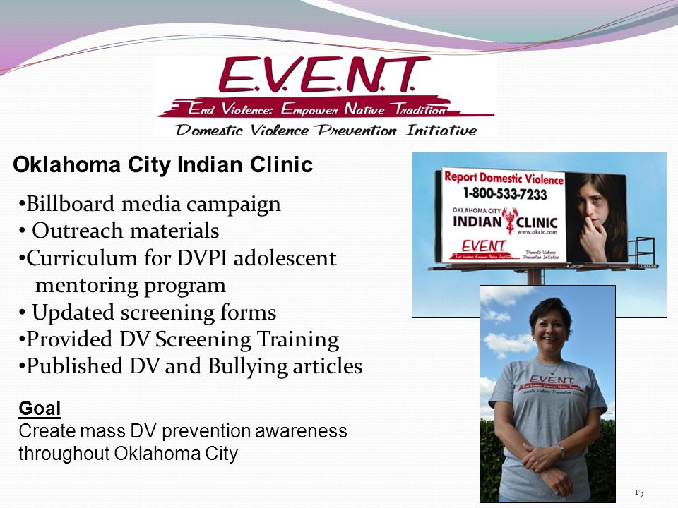 Oklahoma City Indian Clinic Billboard media campaign Outreach materials Curriculum for DVPI adolescent mentoring program Updated screening forms Provided DV Screening Training Published DV and Bullying articles Goal Create mass DV prevention awareness throughout Oklahoma City 15
