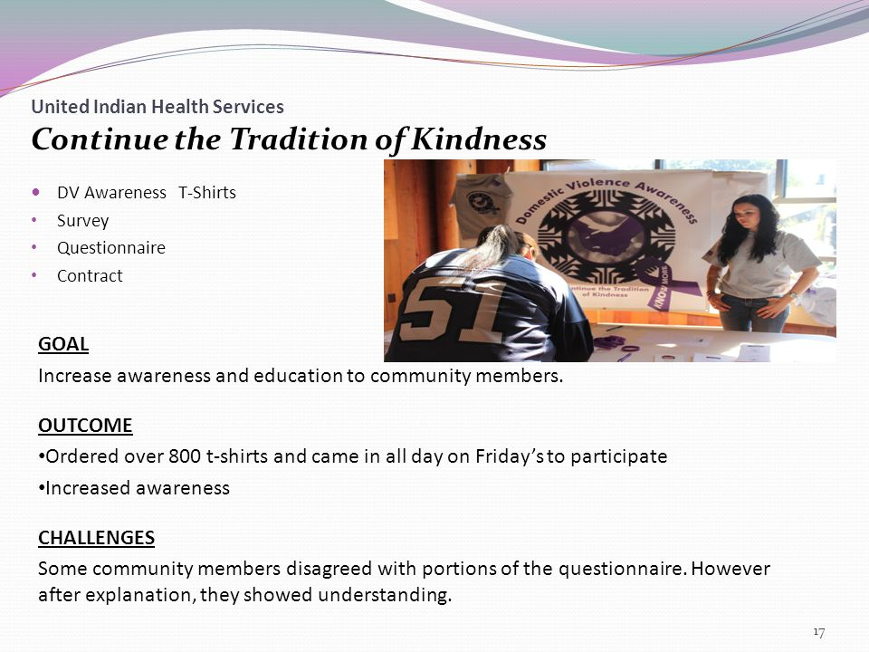 United Indian Health Services Continue the Tradition of Kindness DV Awareness T-Shirts Survey Questionnaire Contract GOAL Increase awareness and education to community members.