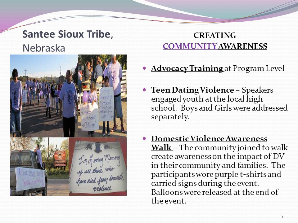 Santee Sioux Tribe, Nebraska CREATING COMMUNITY AWARENESS Advocacy Training at Program Level Teen Dating Violence – Speakers engaged youth at the local high school.
