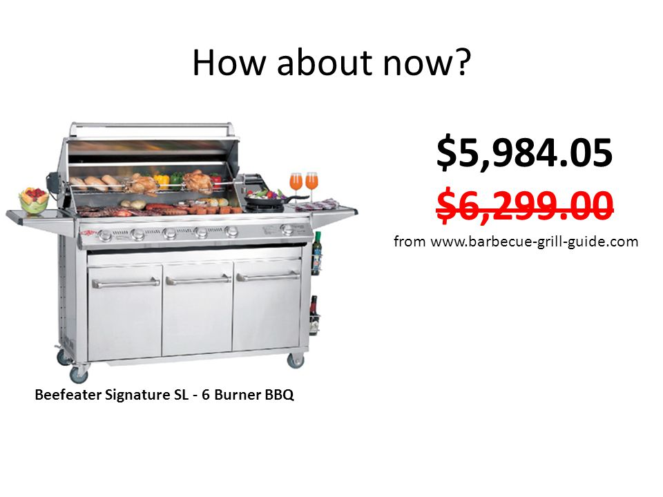 How about now? Beefeater Signature SL - 6 Burner BBQ $5,984.05 $6,299.00 from www.barbecue-grill-guide.com