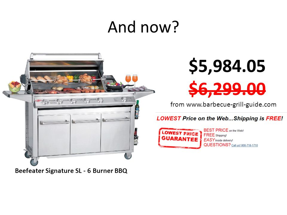And now? Beefeater Signature SL - 6 Burner BBQ $5,984.05 $6,299.00 from www.barbecue-grill-guide.com
