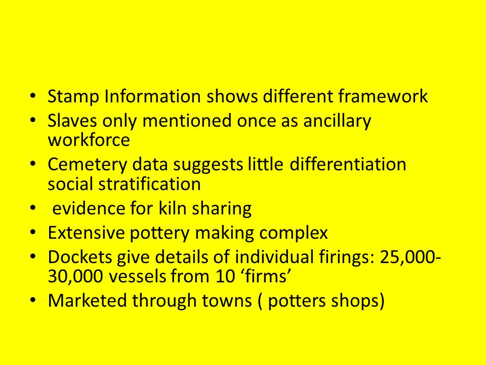 Stamp Information shows different framework Slaves only mentioned once as ancillary workforce Cemetery data suggests little differentiation social stratification evidence for kiln sharing Extensive pottery making complex Dockets give details of individual firings: 25,000- 30,000 vessels from 10 firms Marketed through towns ( potters shops)