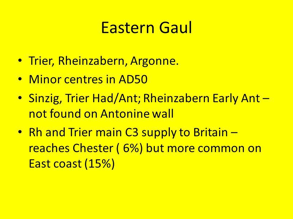 Eastern Gaul Trier, Rheinzabern, Argonne. Minor centres in AD50 Sinzig, Trier Had/Ant; Rheinzabern Early Ant – not found on Antonine wall Rh and Trier