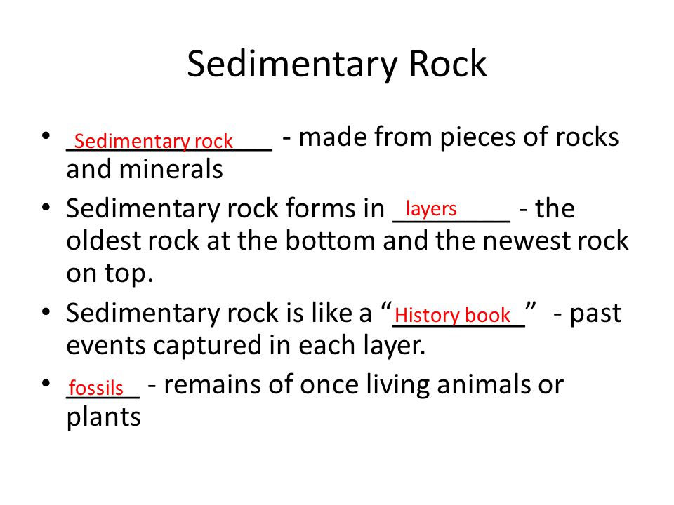 Sedimentary Rock ______________ - made from pieces of rocks and minerals Sedimentary rock forms in ________ - the oldest rock at the bottom and the ne