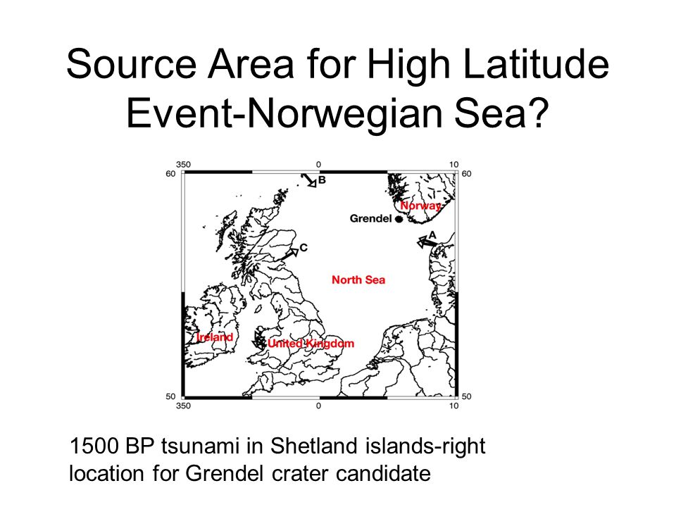 Source Area for High Latitude Event-Norwegian Sea? 1500 BP tsunami in Shetland islands-right location for Grendel crater candidate