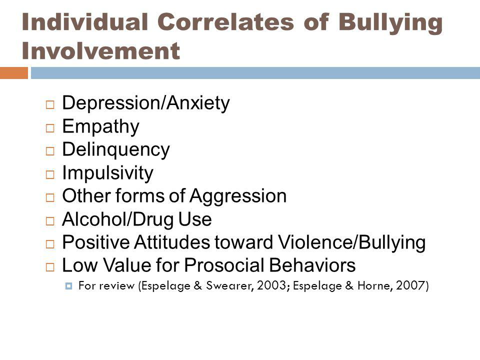 Individual Correlates of Bullying Involvement Depression/Anxiety Empathy Delinquency Impulsivity Other forms of Aggression Alcohol/Drug Use Positive A