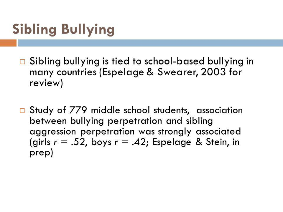 Sibling Bullying Sibling bullying is tied to school-based bullying in many countries (Espelage & Swearer, 2003 for review) Study of 779 middle school
