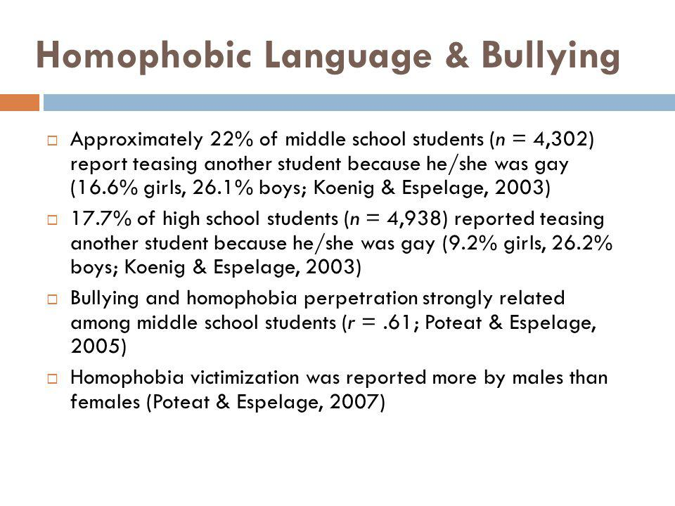 Homophobic Language & Bullying Approximately 22% of middle school students (n = 4,302) report teasing another student because he/she was gay (16.6% gi