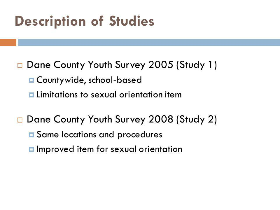 Dane County Youth Survey 2005 (Study 1) Countywide, school-based Limitations to sexual orientation item Dane County Youth Survey 2008 (Study 2) Same l