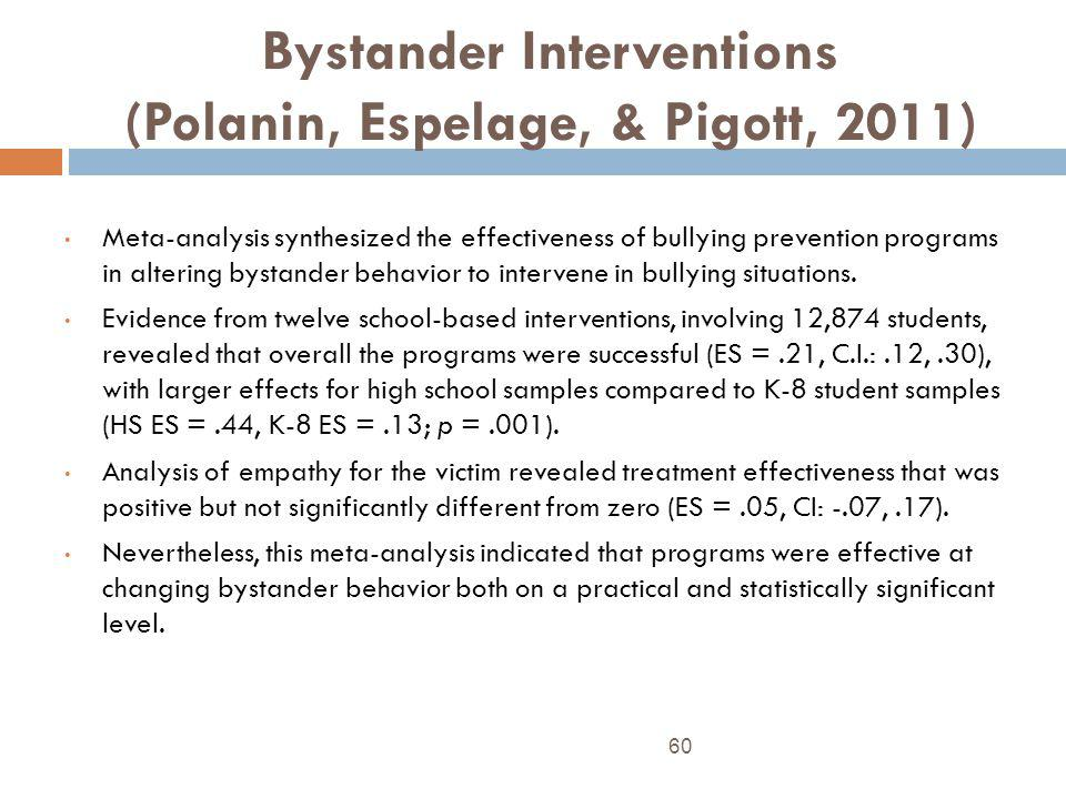 Bystander Interventions (Polanin, Espelage, & Pigott, 2011) 60 Meta-analysis synthesized the effectiveness of bullying prevention programs in altering