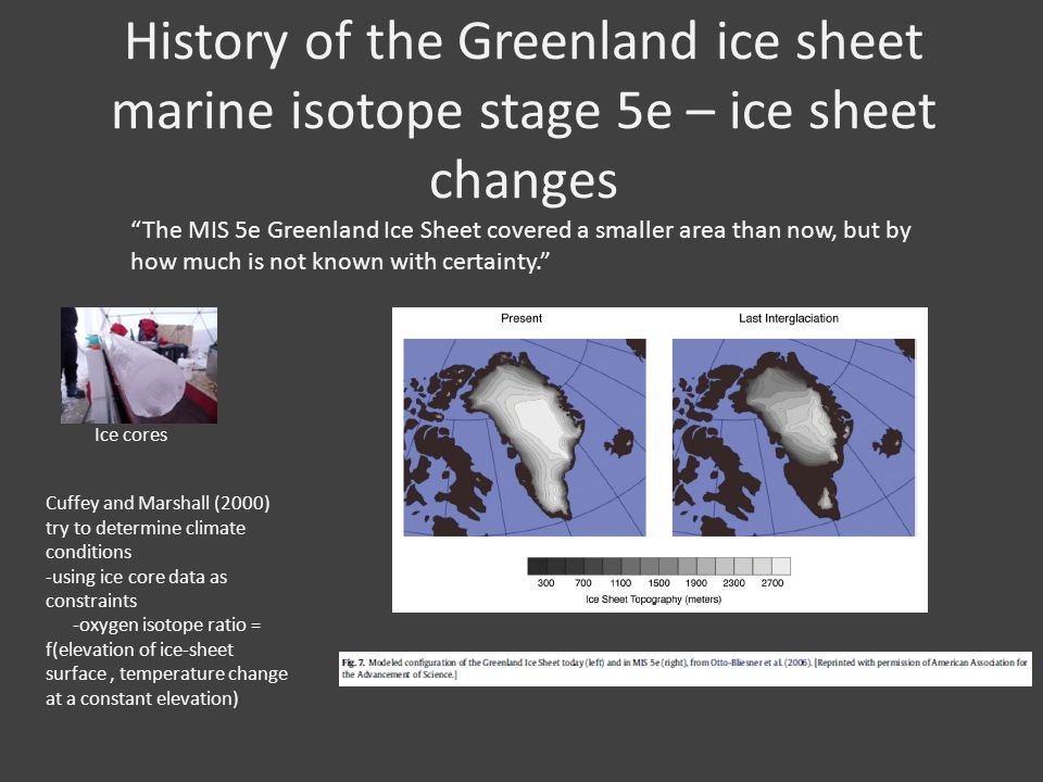History of the Greenland ice sheet marine isotope stage 5e – ice sheet changes The MIS 5e Greenland Ice Sheet covered a smaller area than now, but by how much is not known with certainty.