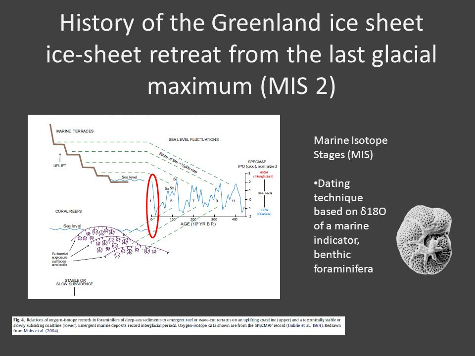 History of the Greenland ice sheet ice-sheet retreat from the last glacial maximum (MIS 2) Marine Isotope Stages (MIS) Dating technique based on δ18O