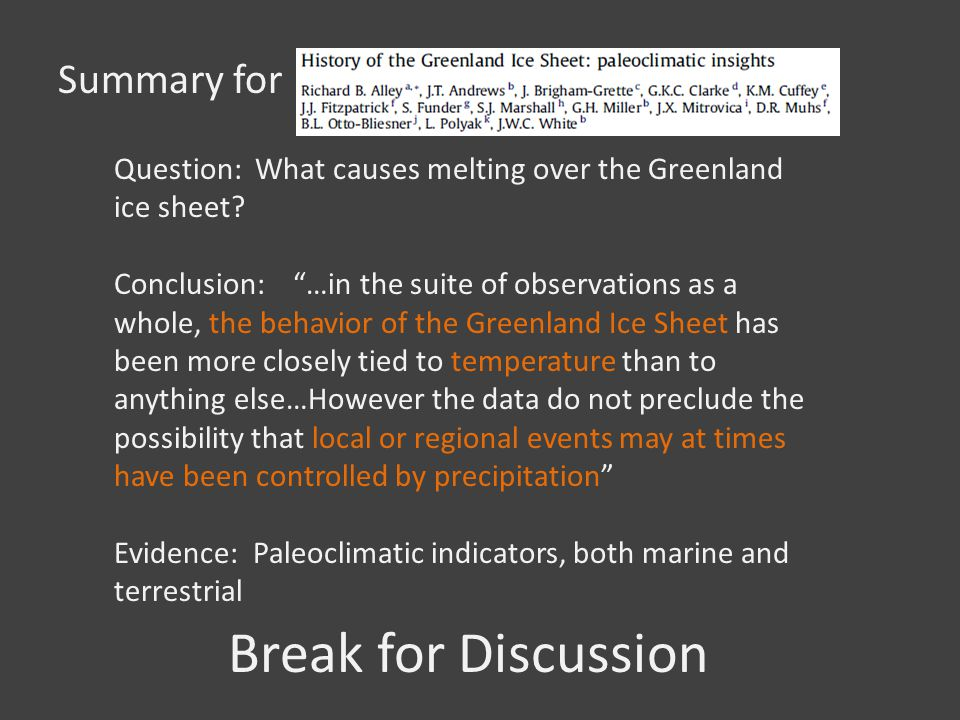 Break for Discussion Summary for Question: What causes melting over the Greenland ice sheet? Conclusion: …in the suite of observations as a whole, the
