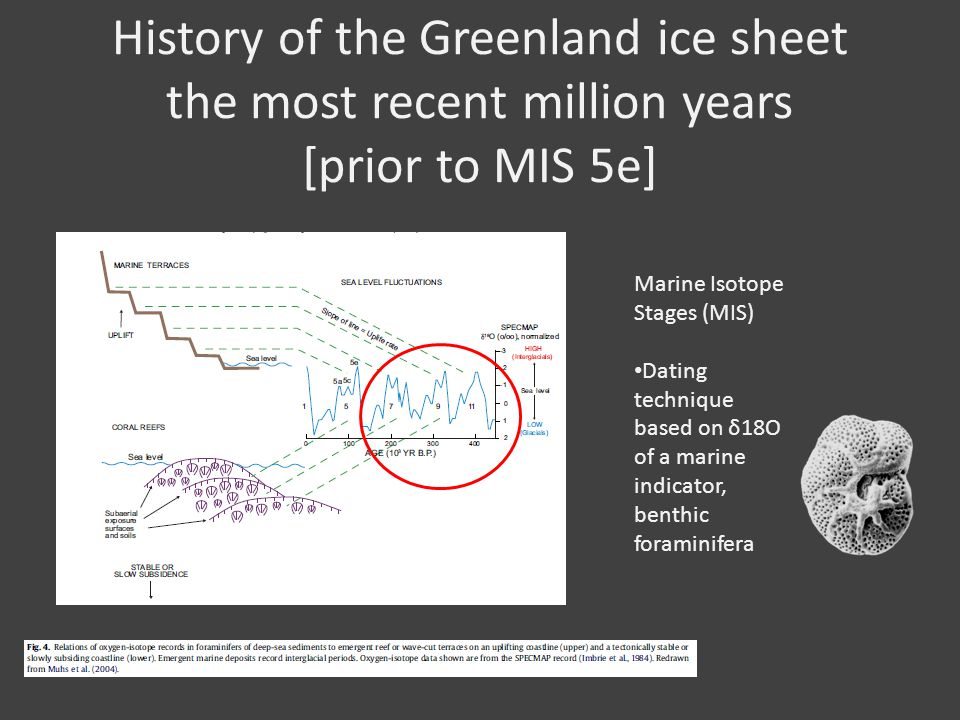 History of the Greenland ice sheet the most recent million years [prior to MIS 5e] Marine Isotope Stages (MIS) Dating technique based on δ18O of a marine indicator, benthic foraminifera
