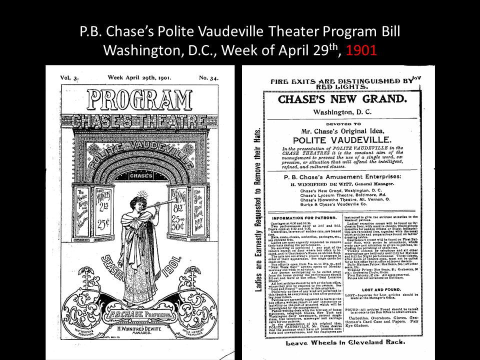P.B. Chases Polite Vaudeville Theater Program Bill Washington, D.C., Week of April 29 th, 1901