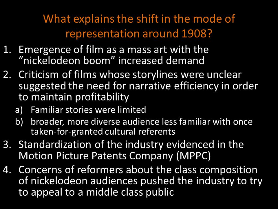 What explains the shift in the mode of representation around 1908.