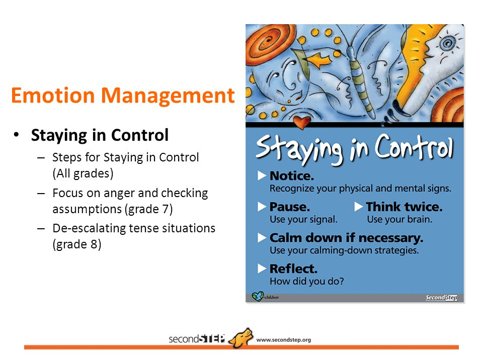 Emotion Management Staying in Control – Steps for Staying in Control (All grades) – Focus on anger and checking assumptions (grade 7) – De-escalating