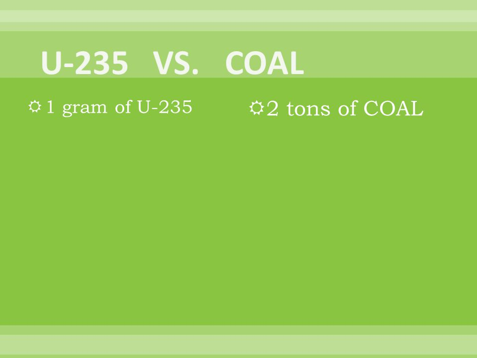 1 gram of U-235 2 tons of COAL