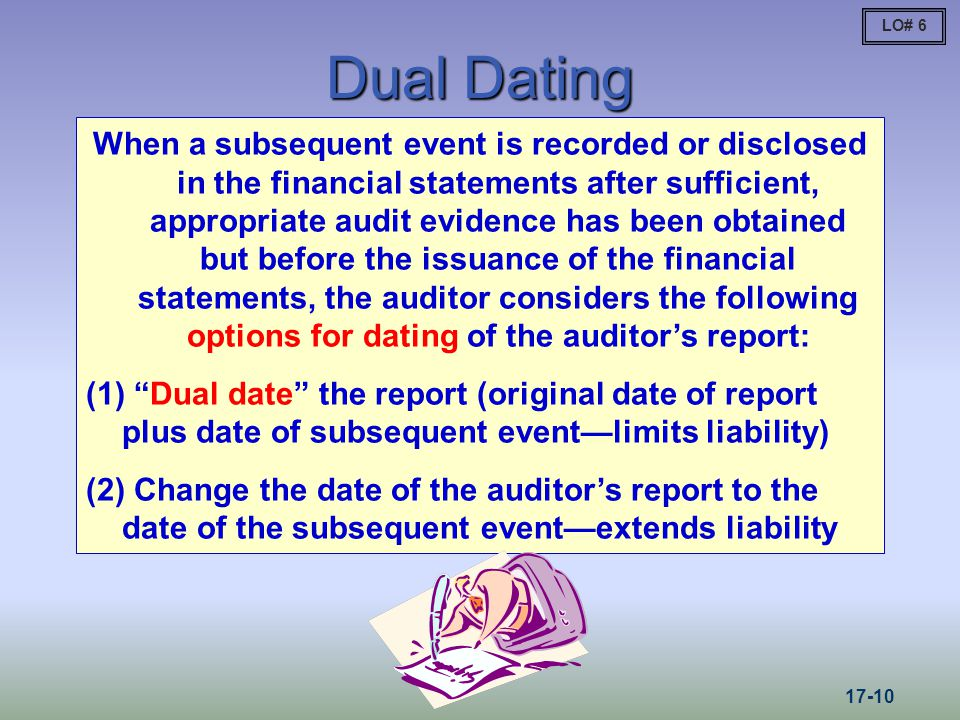 Dual Dating When a subsequent event is recorded or disclosed in the financial statements after sufficient, appropriate audit evidence has been obtained but before the issuance of the financial statements, the auditor considers the following options for dating of the auditors report: (1) Dual date the report (original date of report plus date of subsequent eventlimits liability) (2) Change the date of the auditors report to the date of the subsequent eventextends liability LO# 6 17-10