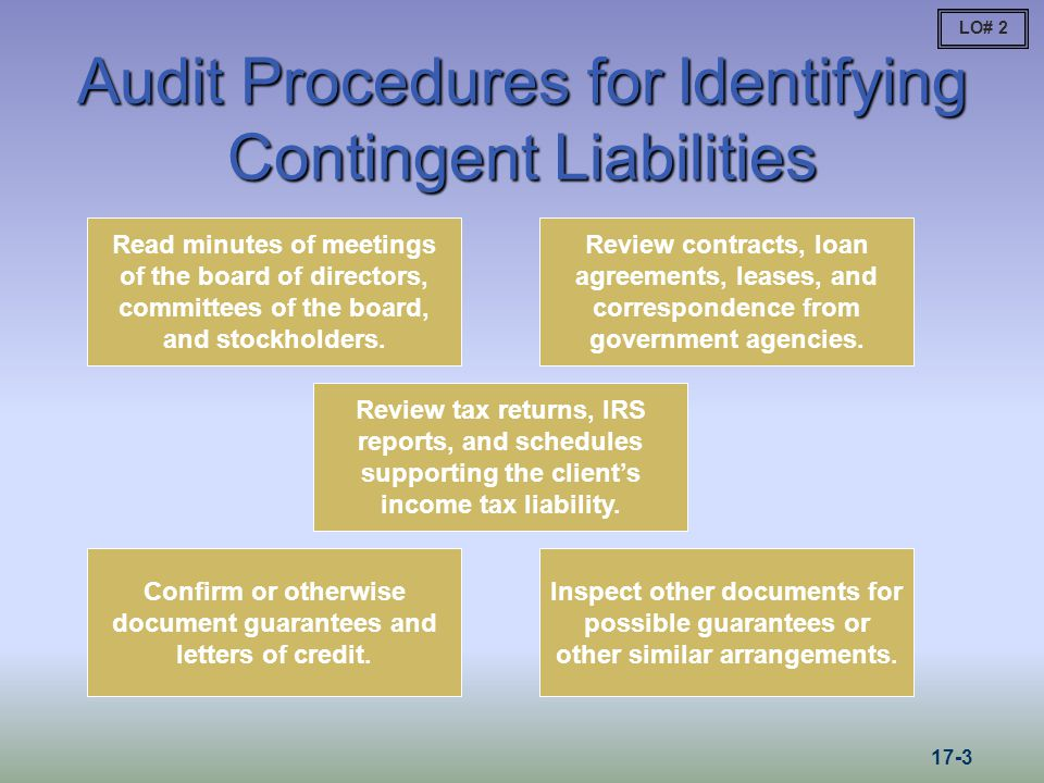 Audit Procedures for Identifying Contingent Liabilities Read minutes of meetings of the board of directors, committees of the board, and stockholders.