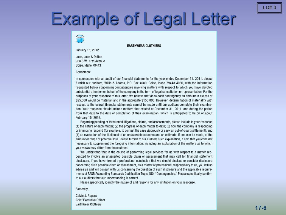 Example of Legal Letter LO# 3 17-6