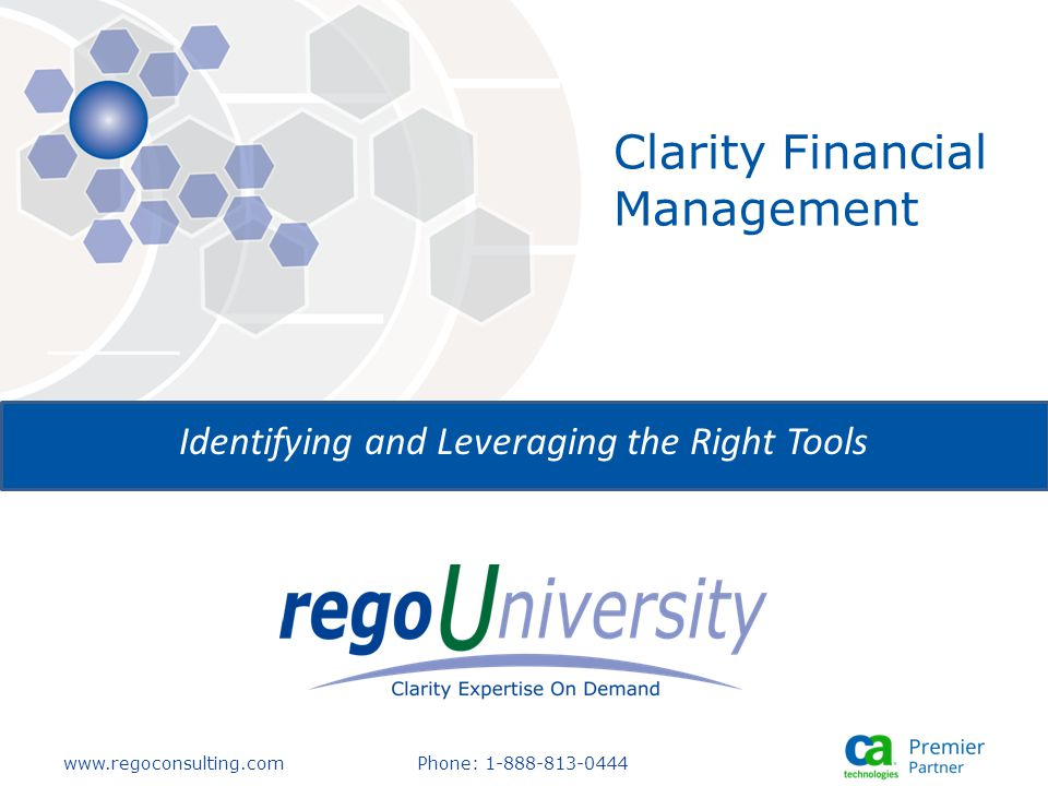 www.regoconsulting.comPhone: 1-888-813-0444 Identifying and Leveraging the Right Tools Clarity Financial Management