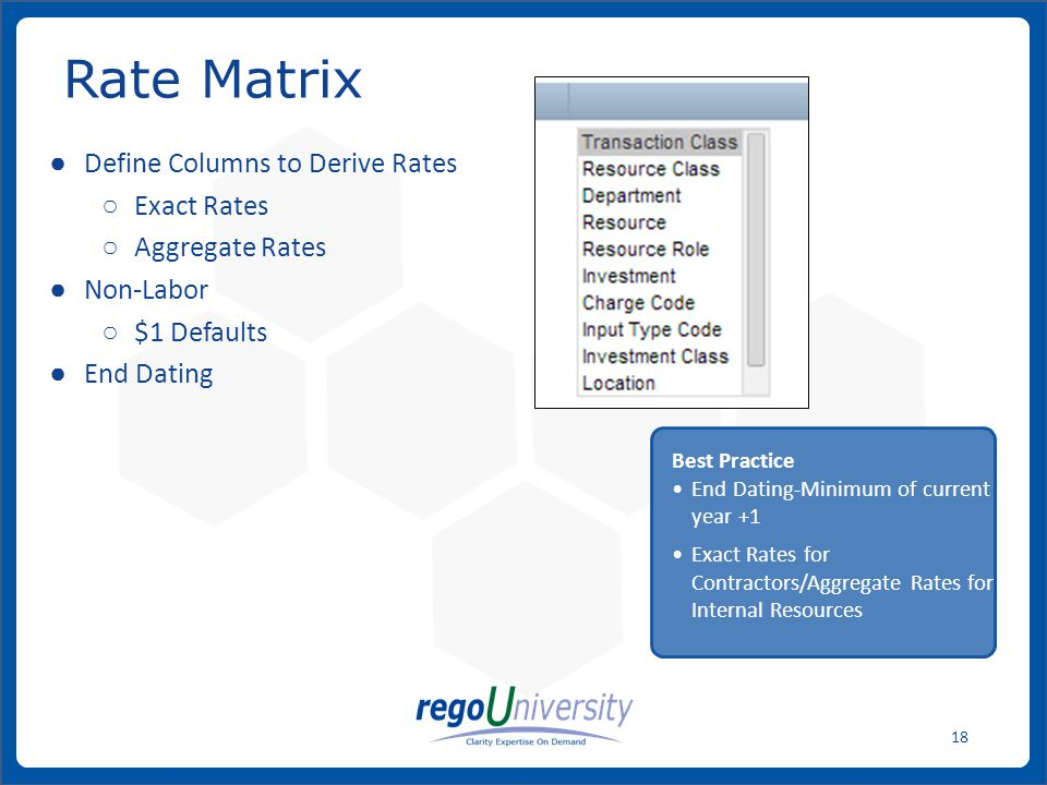 www.regoconsulting.comPhone: 1-888-813-0444 18 Rate Matrix Define Columns to Derive Rates Exact Rates Aggregate Rates Non-Labor $1 Defaults End Dating Best Practice End Dating-Minimum of current year +1 Exact Rates for Contractors/Aggregate Rates for Internal Resources