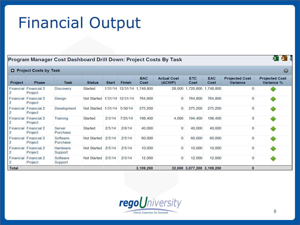 www.regoconsulting.comPhone: 1-888-813-0444 8 Financial Output