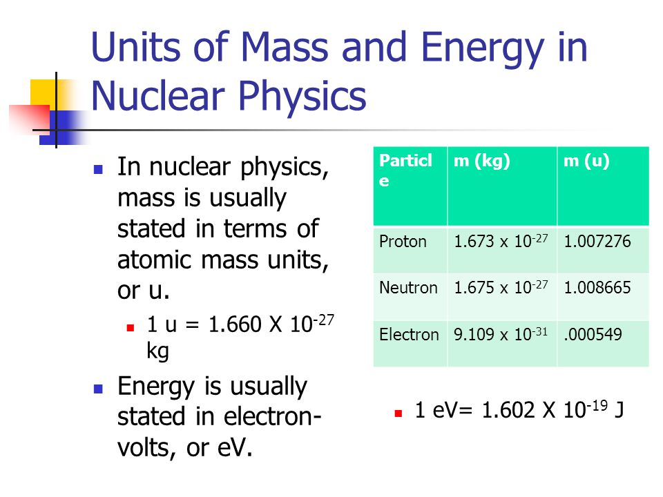 Units of Mass and Energy in Nuclear Physics In nuclear physics, mass is usually stated in terms of atomic mass units, or u. 1 u = 1.660 X 10 -27 kg En