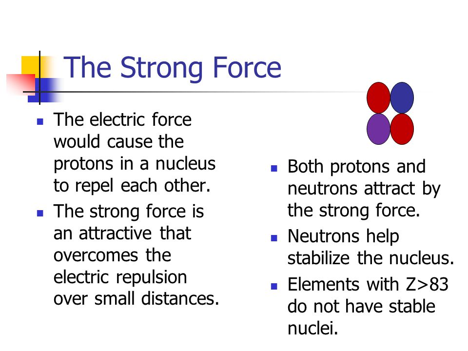 The Strong Force The electric force would cause the protons in a nucleus to repel each other. The strong force is an attractive that overcomes the ele