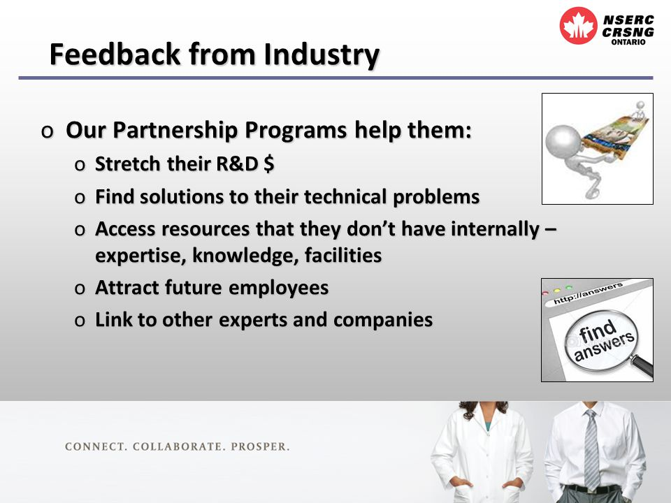 Feedback from Industry oOur Partnership Programs help them: oStretch their R&D $ oFind solutions to their technical problems oAccess resources that they dont have internally – expertise, knowledge, facilities oAttract future employees oLink to other experts and companies