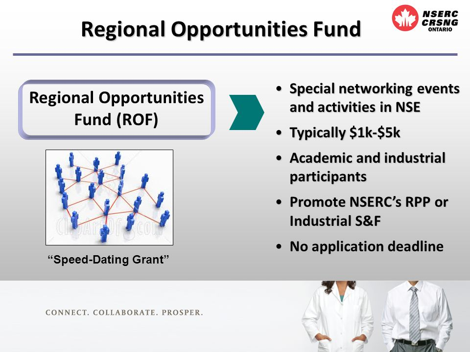 Regional Opportunities Fund Regional Opportunities Fund (ROF) Special networking events and activities in NSESpecial networking events and activities in NSE Typically $1k-$5kTypically $1k-$5k Academic and industrial participantsAcademic and industrial participants Promote NSERCs RPP or Industrial S&FPromote NSERCs RPP or Industrial S&F No application deadlineNo application deadline Speed-Dating Grant
