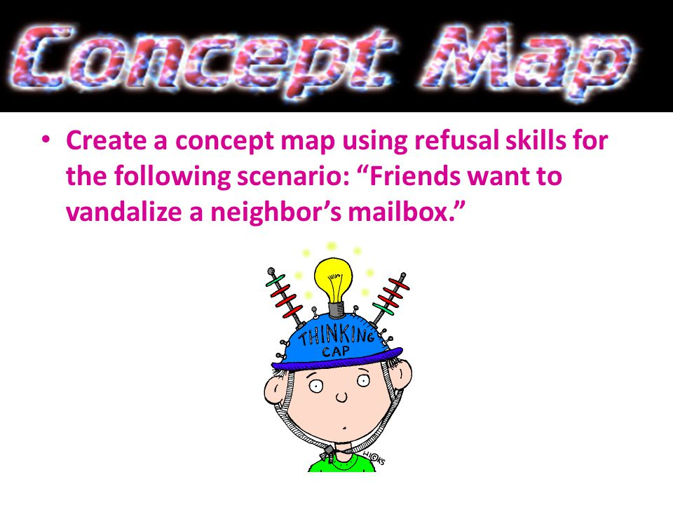 Create a concept map using refusal skills for the following scenario: Friends want to vandalize a neighbors mailbox.